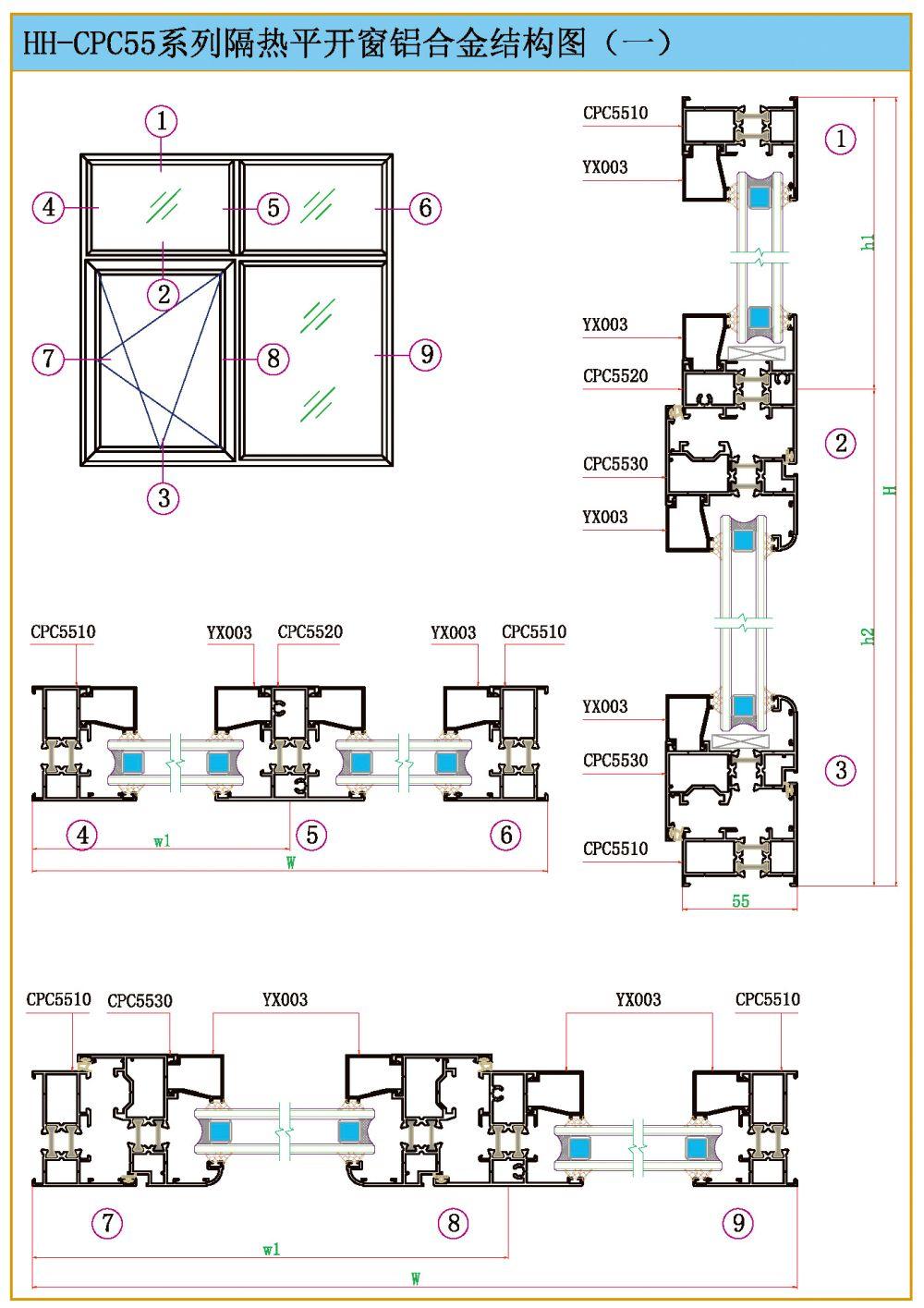 结构图-hh-cpc55系列隔热平开窗-河南省海皇铝业有限